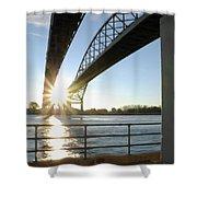Sunrise Blue Water Bridges Shower Curtain