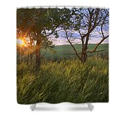 Sunrise On A Farm During The Summer Shower Curtain