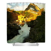Sunrise On A Waterfall At Glacier  Shower Curtain