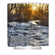 Sunrise On The St Vrain River Shower Curtain