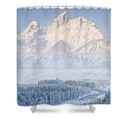Sunrise Over A Snow-blanketed Landscape Shower Curtain