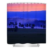 Sunrise Over Field With Trees Shower Curtain
