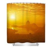 Sunrise Over Rio De Janeiro And Sugar Shower Curtain