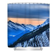 Sunrise Over The Rockies Shower Curtain