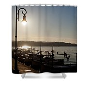 sunrise - First dawn of a spanish town is Es Castell Menorca sun is a special lamp Shower Curtain