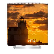 Sunrise Pier Fishermen Shower Curtain
