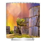 Sunset And Abandoned Oil Tanks Shower Curtain