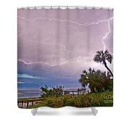 Sunset And Lightning Shower Curtain