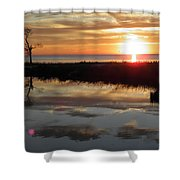 Sunset And Tidal Pool Cape Charles Va Shower Curtain