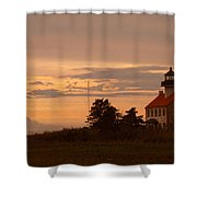 Sunset At East Point Light  Shower Curtain