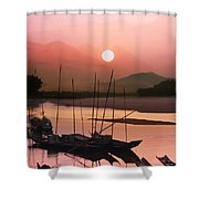 sunset at Mae Khong river Shower Curtain