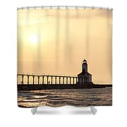 Sunset At The Lighthouse Shower Curtain