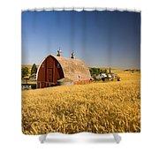 Sunset Barn And Wheat Field Steptoe Shower Curtain