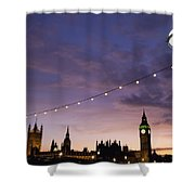 Sunset Behind Big Ben And The Houses Shower Curtain
