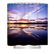 Sunset, Dinish Island Kenmare Bay Shower Curtain by The Irish Image Collection