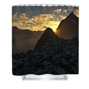 Sunset In The Stony Mountains Shower Curtain