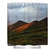 Sunset Light Hitting The Mountains Shower Curtain