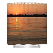 Sunset On Geist Reservoir In Lawrence In Shower Curtain