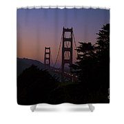 Sunset On The Golden Gate Shower Curtain by Tim Mulina