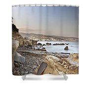 Sunset On The Mediterranean Shower Curtain by Joana Kruse