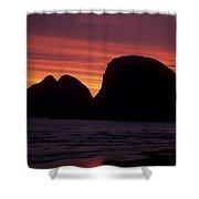 Sunset On Three Arch Rocks Bird Sanctuary Shower Curtain