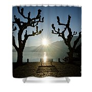 Sunset Over A Lake With Trees Shower Curtain