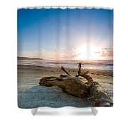 Sunset Over A Misty Beach Shower Curtain