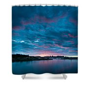 Sunset Over A River  Shower Curtain