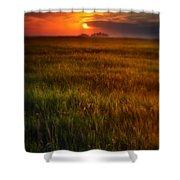 Sunset Over Field Shower Curtain