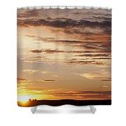 Sunset Over Grain Bins Shower Curtain