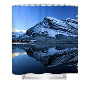 Sunset Over Many Glacier Lodge Shower Curtain