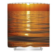 Sunset Over Ocean Horizon Shower Curtain