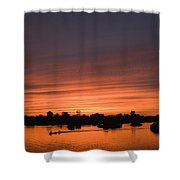 Sunset Over River Shower Curtain by Axiom Photographic