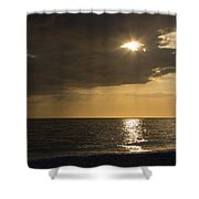 Sunset Over The Gulf - Peeking Through The Clouds Shower Curtain