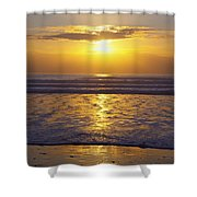 Sunset Over The Pacific Ocean Along The Shower Curtain by Craig Tuttle