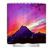 Sunset Over The Sierras Shower Curtain