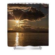Sunset Paddleboarder Shower Curtain