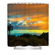 Sunset Palm Folly Beach  Shower Curtain