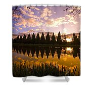 Sunset Reflection In A Park Pond Shower Curtain by Craig Tuttle