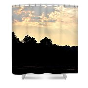 Sunset Silhouettes Over Star Lake Shower Curtain