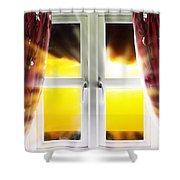 Sunset Through Window Shower Curtain