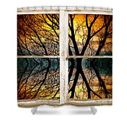 Sunset Tree Silhouette Abstract Picture Window View Shower Curtain