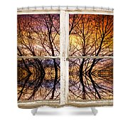 Sunset Tree Silhouette Colorful Abstract Picture Window View Shower Curtain by James BO  Insogna