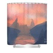 Sunset Valley  Shower Curtain by Pixel  Chimp