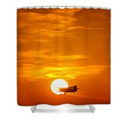 Sunset With Plane Shower Curtain