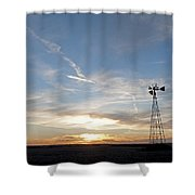 Sunset With Windmill Shower Curtain