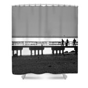 Sunsets On Coney Island In Black And White Shower Curtain