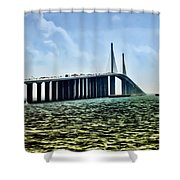 Sunshine Skyway Bridge - Tampa Bay Shower Curtain