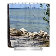 Sunshine Skyway From The Causeway Shower Curtain