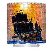 Sunship Galleon On Wood Shower Curtain